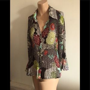 SzL classy crinkle polyester button-up